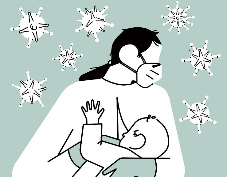 Illustration by Sergio Membrillas of a mother bonding with baby