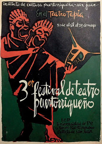 Poster for Puerto Rican theater festival, from Columbia's Rare Book and Manuscript Library