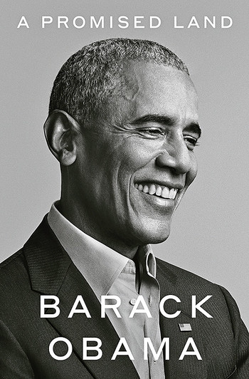 "Photo of Barack Obama on cover of his book ""A Promised Land"""
